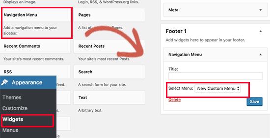اضافه کردن ابزارک فهرست ناوبری به فوتر در وردپرس