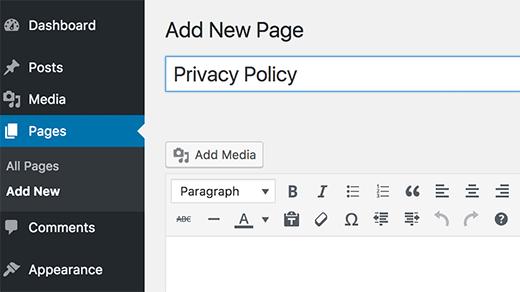 ساخت صفحه سیاست حفظ حریم خصوصی در وردپرس