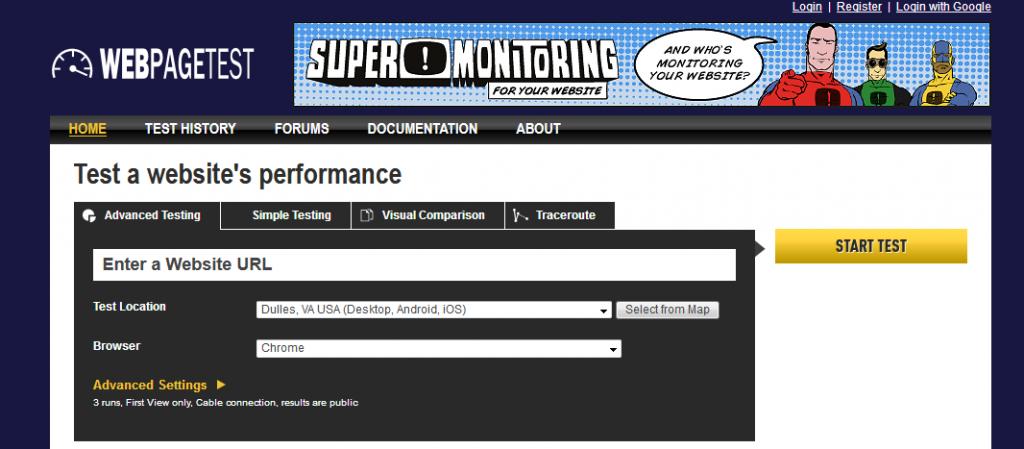 تست سرعت وب سایت