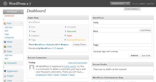 داشبرد wordpress نسخه 2.7