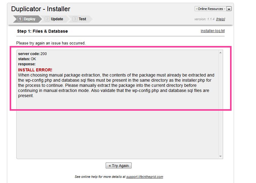 رفع خطای 200 نصب بسته نصبی وردپرس