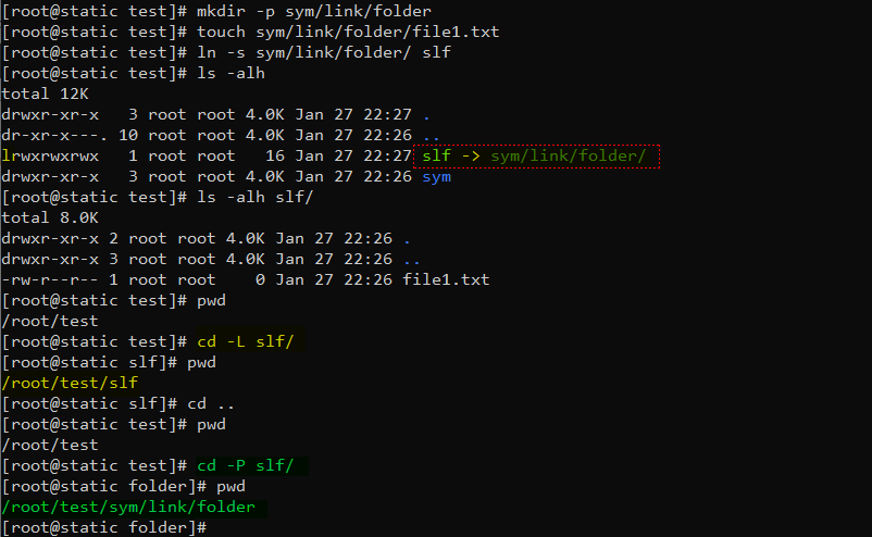 دستور cd با گزینه P و L برای کار با symlink یا symbolic link