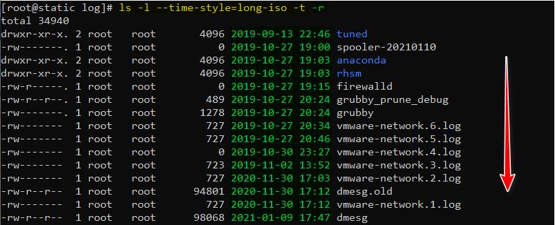 دستور ls در لینوکس با گزینه r برای مرتب کردن فایلها بر اساس زمان بصورت برعکس