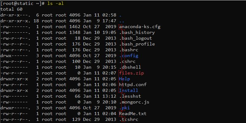 دستور ls در لینوکس برای لیست کردن تمامی فایل با گزینههای l و a