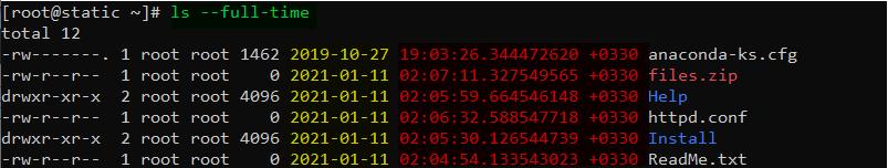 دستور ls در لینوکس با گزینه full time برای نمایش زمان و تاریخ کامل در لیست کردن فایلها