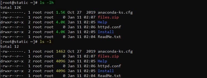 دستور ls در لینوکس با گزینه h برای لیست کردن فایل ها بصورت قابل خواندن برای انسان
