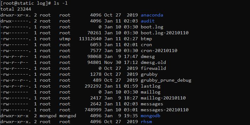 دستور ls در لینوکس با گزینه l برای لیست کردن فایلها