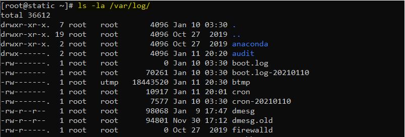 دستور ls در لینوکس برای لیست کردن فایلها و فولدرهای داخل یک فولدر با گزینه های l و a