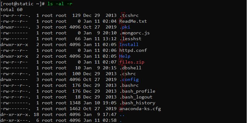 دستور ls در لینوکس برای لیست و مرتب کردن برعکس فایلها با گزینه r