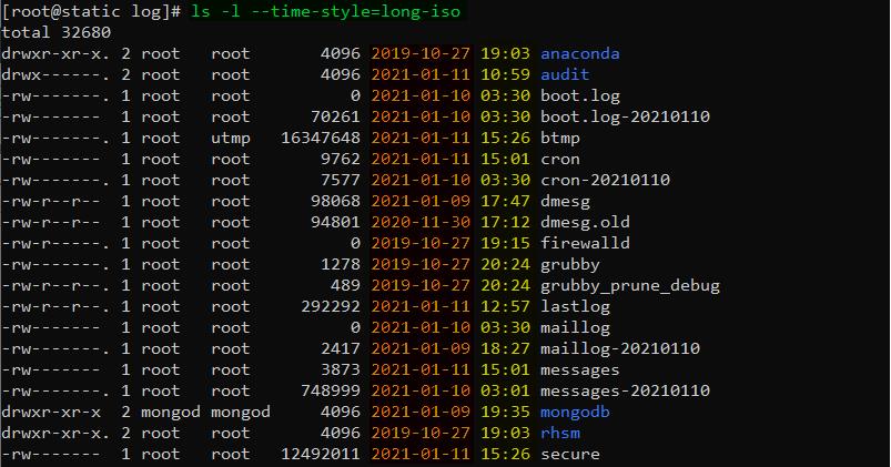 دستور ls در لینوکس برای نمایش سال در زمان لیست کردن فایلها با گزینه time style