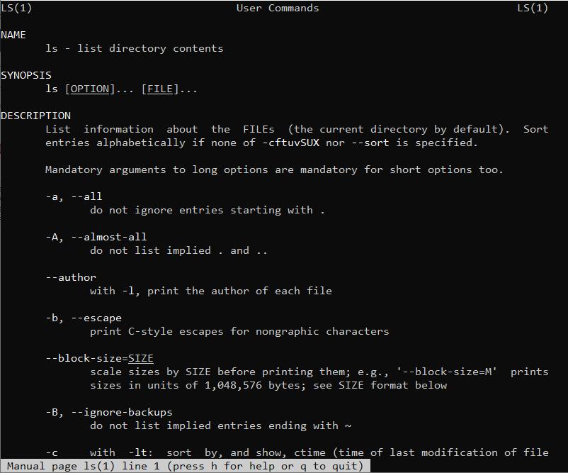 مشاهده تمامی گزینه های دستور ls در لینوکس