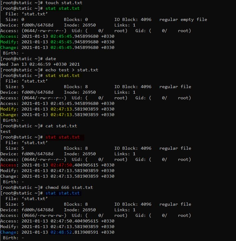 دستور stat رد لینوکس برای مشاهده atime mtime ctime